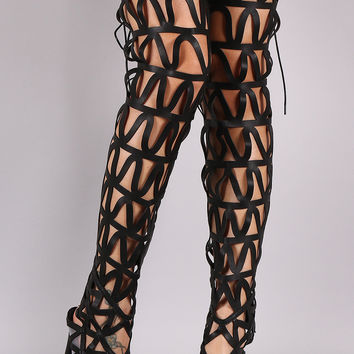 Thigh High Caged Back Lace Gladiator Stiletto Heels