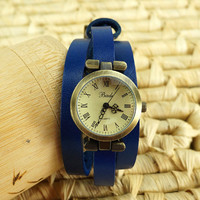 Vintage Blue Leather Strap Multi-wrap Watch