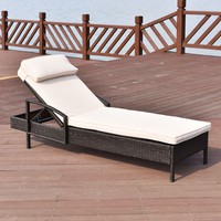 Chaise Lounge Chair Brown Outdoor Wicker Rattan Couch Patio Furniture W/Pillow