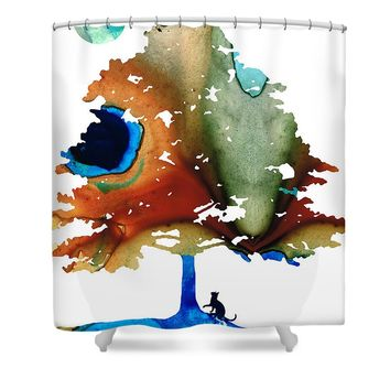 Determination - Colorful Cat Art Painting Shower Curtain