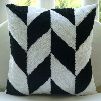 Black N White - Throw Pillow Covers - 16x16 Inches Silk Pillow Cover with Satin Ribbons Embroidery
