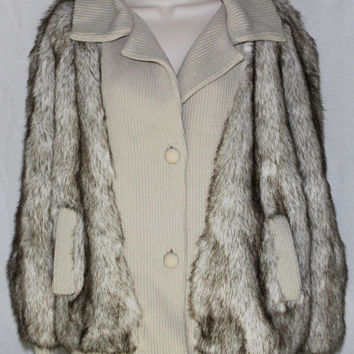 Vegan Faux Fur Coat Vtg L Lilli Ann Adolph Schuman England Raccoon Fox Jacket