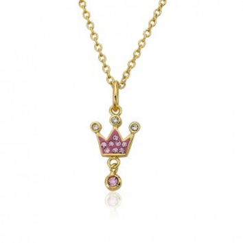Pretty Princess Pink Crown Pendant Necklace.