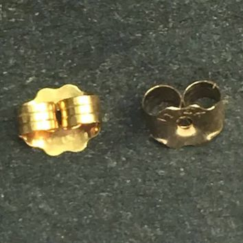 2 pcs (1 pair) Medium Butterfly Earring Backing Solid 14k Gold 585 Gold Finding 5mm X 4mm