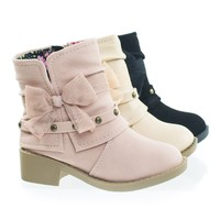 NikkiIIsq Dusty Muave by Soda, Infant Toddler Girl Ankle Bootie w Side Slit, Belt & Mesh Bow