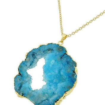 Gold & Blue Druzy Semi-Precious Stone Pendant Long Necklace