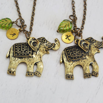 personalized initial elephant necklace, elephant charm necklace, layering necklace, friendship gift, initial necklace, custom mommy gift
