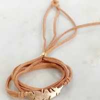 Love & Leaf Ya Wrap Bracelet Tan/Gold