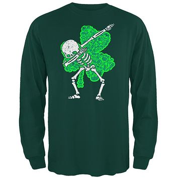 St Patricks Dabbing Skeleton Shamrock Skulls Mens Long Sleeve T Shirt