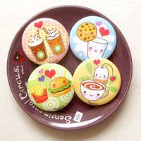 "Kawaii Food 1.75"" Pinback Button Set of 4: Cute Food Pin Badges, Cute Hamburger and Fries Buttons, I Love Tea Badge, Milk and Cookie Pin"