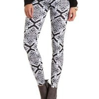 Cotton Paisley Print Leggings by Charlotte Russe - Black Combo