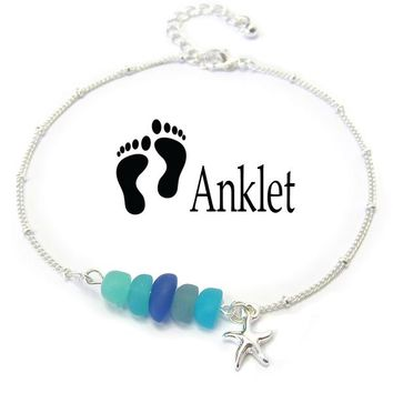 Starfish Seaglass Charm Anklet