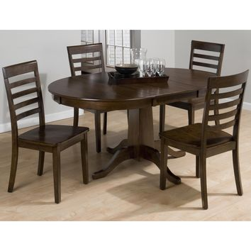 Taylor Cherry 5 Piece Round to Oval Dining Table & Ladderback Chair Set