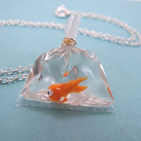 Goldfish In A Bag Necklace by CuteAbility on Etsy