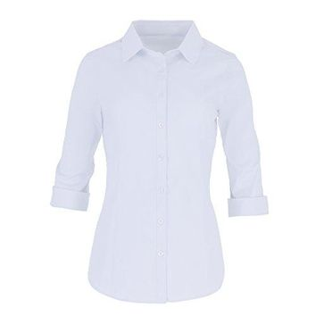 Pier 17 Womenrsquos Button Down Shirts Tailored 34 Sleeve Shirt Stretchy Material