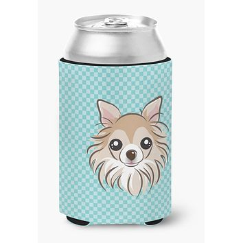 Checkerboard Blue Chihuahua Can or Bottle Hugger BB1189CC
