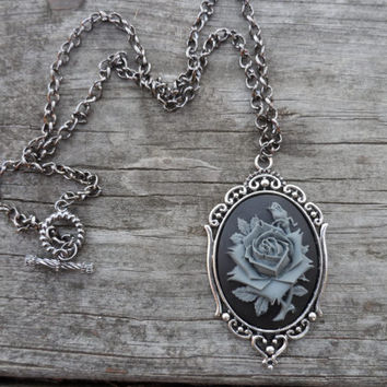 Grey Rose Cameo Necklace, Fall Jewelry, Wedding, Mourning, Gift