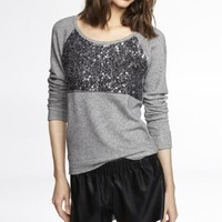 COLOR BLOCK SEQUIN EMBELLISHED SWEATSHIRT