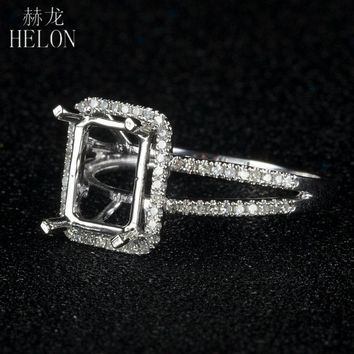 HELON 925 Sterling Silver 6x8mm Cushion Pave 0.3ct Diamonds Classic Eternity Engagement Semi Mount Women's Jewelry Fine Ring