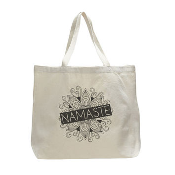 Namaste - Trendy Natural Canvas Bag - Funny and Unique - Tote Bag