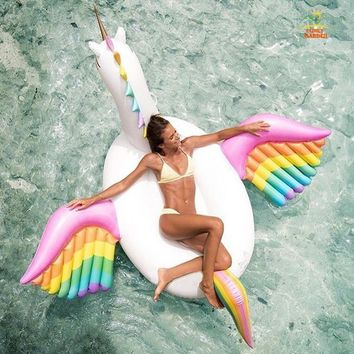 Inflatable Rainbow Pegasus Unicorn Horse Pool Float Colorful Air Floating Mattress Bed Swimming Ring Outdoor Fun Sports Ride-on