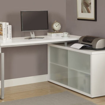 "White Hollow-Core ""L"" Shaped Desk with Frosted Glass"