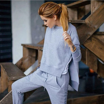 2017 new Spring Autumn women 2 piece clothing set casual fashion side split ladies sexy tracksuit pants hoodie suit