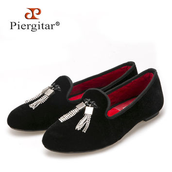 Women velvet shoes with tassel fashion wedding and party loafers women casual flats size