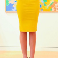 Professionally Polished Skirt-Mustard