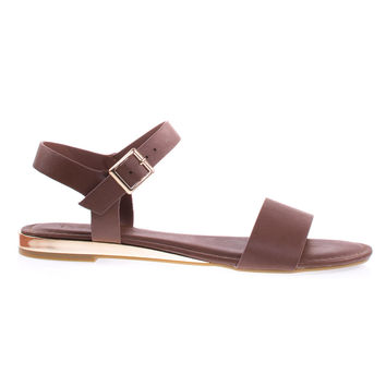 Interest12M Cognac By Bamboo Cognac Metal Plated Low Wedge Flat sandal w Duo Tone Straps