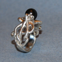 Octopus and Black Pearl Ring in Sterling Silver