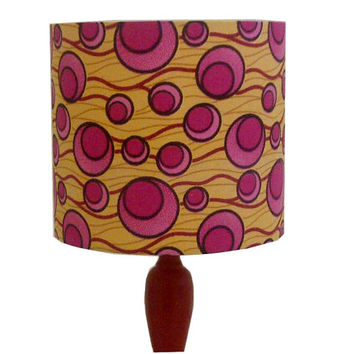 Pink Lemonade Atomic Lampshade, Back To School Dorm Decor, Mustard Yellow & Pink African wax fabric, Summer Sale, Table lamp shade