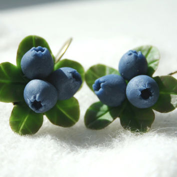 Blueberry earrings - berry jewelry - flower jewelry - Rustic jewelry- Polymer clay jewelry - Floral jewelry- blue jewelry - clay berry