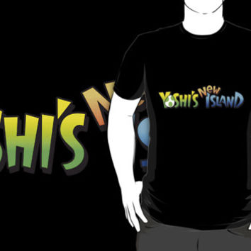 Yoshi's New Island logo custom black t-shirt