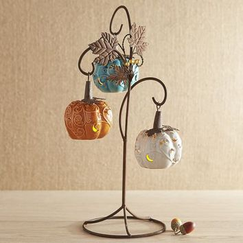 Hanging Ceramic Pumpkin Tealight Holder