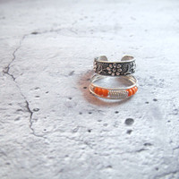 Toe Rings, Sterling Silver, Pack Of 2, one With Flower Design, The Other Has Orange iBeads, Adjustable.