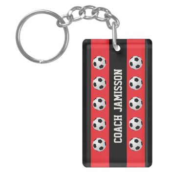 Keychain, Red & Black, for Soccer Coach, Player Keychain