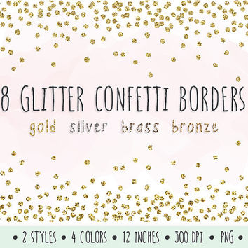 SALE - 20% OFF. Glitter Confetti Borders Clip Art. Gold Glitter Borders and Frames. Mettalic Confetti Clipart for Invitations, Scrapbooking.