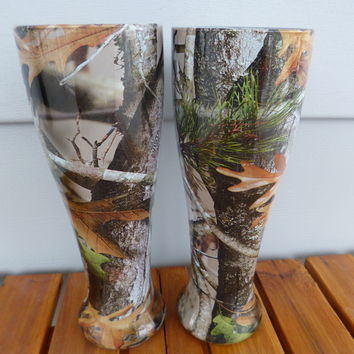Pilsner glasses in vista camo hydrographics