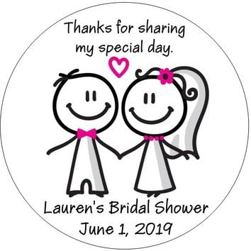 Stick Figure Couple Bridal Shower Favor Tags