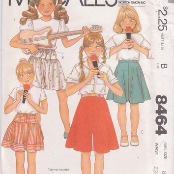 Vintage 1980s pattern for short flared skirt or culottes, or short, gathered, yoked skirt or culottes girls size 8 McCall's 8464 UNCUT