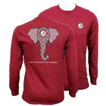 ONETOW Southern Couture Alabama Crimson Tide Bama Tribal Chevron Elephant Long Sleeve Girlie Bright T Shirt Day-First?