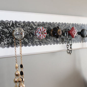 Jewelry organizer, black and red necklace holder, wall decor, 6 knob jewelry holder with double hook