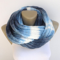 blue knit scarf ,infinity scarf ,women scarf ,men scarf ,knitted scarves , fashion accessories senoAccessory