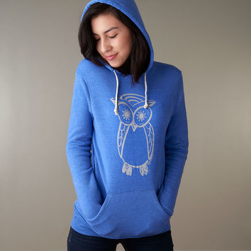 Blue Owl Graphic Hoodie, Sweatshirt for Women by Uni-T
