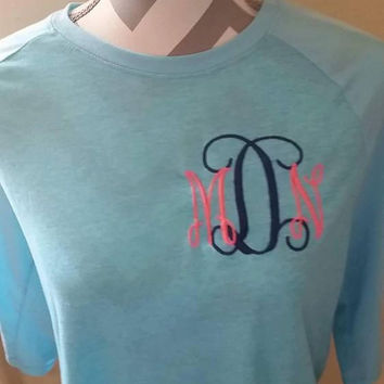 baseball  3/4 sleeve tee with 5 inch interlocking monogram