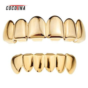 Gold Color Grillz Teeth Grillz Fashion Electroplating Teeth Grillz Teeth Mouth Grills Body Jewelry For Women&men Cocotina D02872