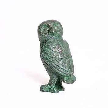 Ancient Greek Owl Head Turned Miniature Statue 3.5H