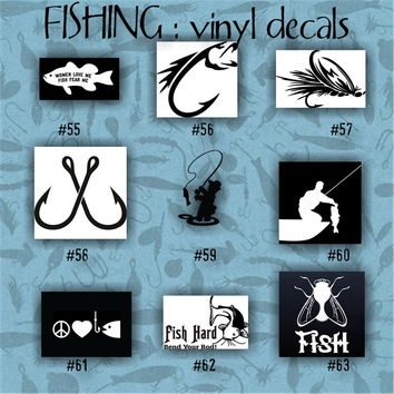 FISHING vinyl decals - 55-63 - vinyl sticker - fish - fisherman - decal - stickers - custom decal - car sticker - vinyl decal - car decal
