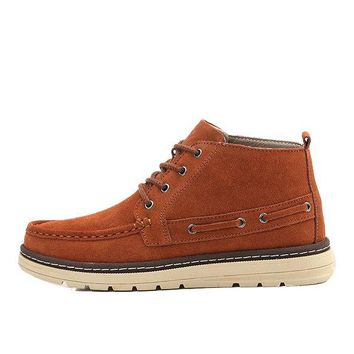 Men Classic Moc Toe Lace Up Casual Ankle Boots